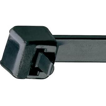 Cable tie 213 mm Black Releasable, Lever lock, UV-proof, Weatherproof