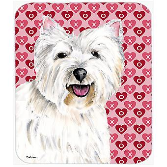 Westie Hearts Love and Valentine's Day Portrait Mouse Pad, Hot Pad or Trivet