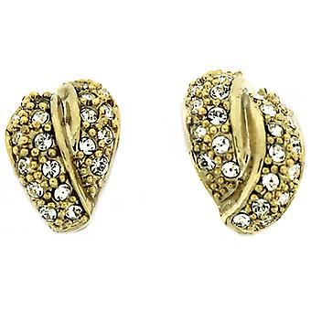 Gold Plated & Swarovski Crystal Swirl Knot Stud Earrings