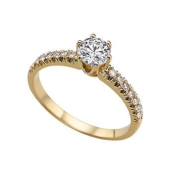 1.64ct White Sapphire and Diamonds Ring Yellow Gold 14K 6 prongs Round