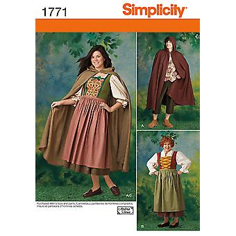 Misses' and Men's Costume-8 -18 / XS -XL US1771A