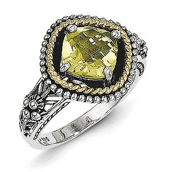Sterling Silver With 14k 1.90Lemon Quartz Ring - Ring Size: 6 to 8