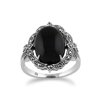 925 Sterling Silver Art Nouveau Onyx & Marcasite Statement Ring