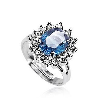 10K Gold Plated Sapphire Cubic Zirconia Ring