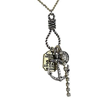 Anchor, Clock, Rabies Tag, Rhinestone Two Tone Multi Charm Necklace