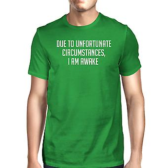 Unfortunate Circumstances Mans Kelly Green Tee Cute Typographic Tee
