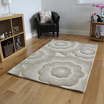 Beige Wool Carved Floral Modern Rug Essence