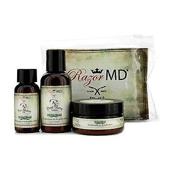 Razor Md RX Shave Trio (Herbal Blend): Post Shave Lotion 60ml + Pre Shave Oil 30ml + Shave Cream 60ml - 3pcs