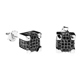 925 Silver MICRO PAVE earrings - IMPERIAL 7 mm black