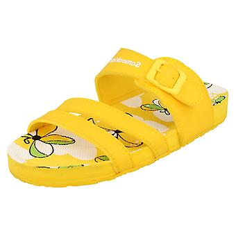 Girls Samoa Flat Strappy Buckle Butterfly Design Sandal Butterfly