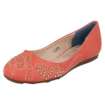 Girls Spot On Flat Ballet Style Shoes H2273