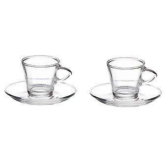 Eddingtons Glass Espresso Cup & Saucer 80ml, Set of 2