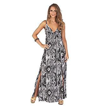 Boutique Ladies Lightweight Adjustable Straps Black and White Tribal Maxi Dress