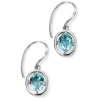 925 Silver Plated Rhodium Heart And Bleu Topaz Bleu Earring
