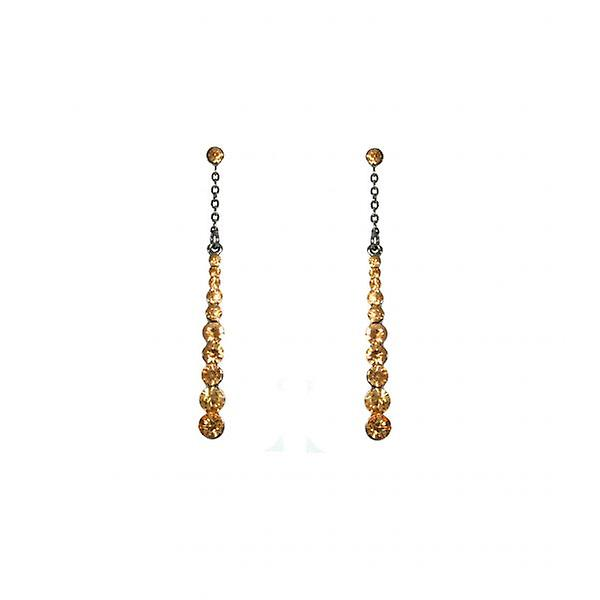W.A.T Topaz Crystal Drop Chain Fashion Earrings