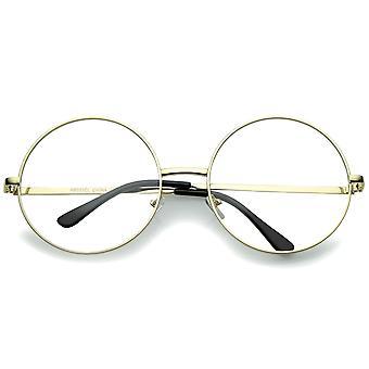 Oversize Metal Frame Slim tempel klar linse runde briller 60mm