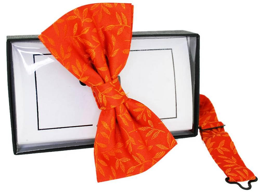 David Van Hagen Floral Jaquard Silk Bow Tie - Orange