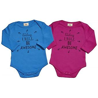 Spoilt Rotten Today I Will Be Awesome & Babygrow Twins Set