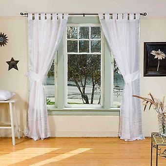 White w / Farbe: Silber trim Tab Top Sari schiere Vorhang (43.X84 Zoll) w / Zugband