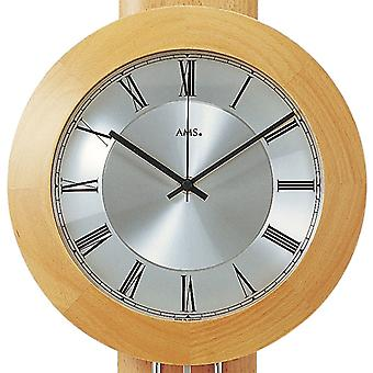 AMS wall clock 5132/18 radio with suspended solid beech, silver applications