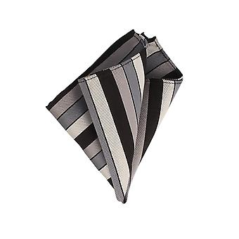 Frédéric Thomass handkerchief Hanky Cavalier cloth silver grey black striped Pochette silk