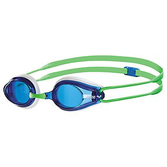 Arena Tracks Swim Goggle - Blue Lens - White/Green Frame