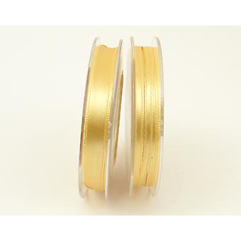 10mm Polyester Satin Craft Ribbon - 10m Reel - Matt Gold
