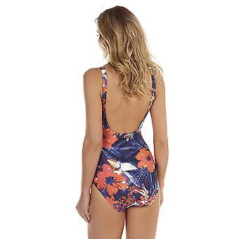 Seaspray Frida Navy Blue Floral Medium Control Long Length Swimsuit 10-2067