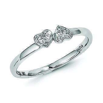 Sterling Silber poliert rhodiniert weiße Raute stapelbar Ring - Ring-Größe: 6 bis 8