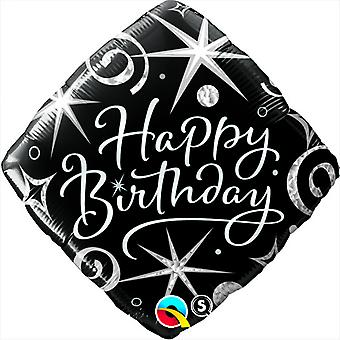 Qualatex 18 Inch Diamond Shaped Happy Birthday Sparkles Foil Balloon