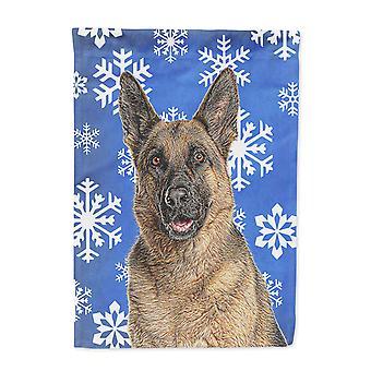 Winter Schneeflocken Urlaub Schäferhund Flagge Leinwandgröße Haus