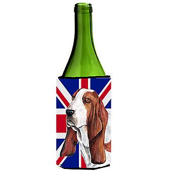Basset Hound with English Union Jack British Flag Wine Bottle Beverage Insulator