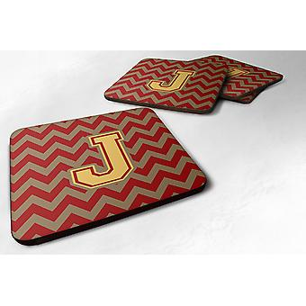 Set of 4 Letter J Chevron Garnet and Gold  Foam Coasters Set of 4