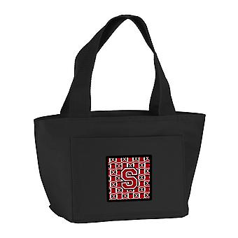 Letter S Football Red, Black and White Lunch Bag