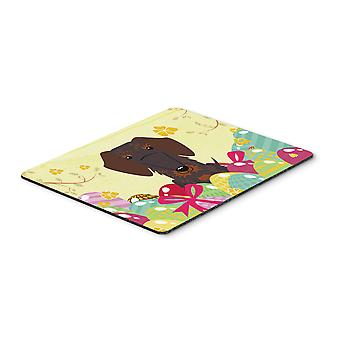 Easter Eggs Wire Haired Dachshund Chocolate Mouse Pad, Hot Pad or Trivet