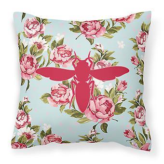 Gul jacka Shabby Chic Blue Roses Canvas tyg dekorativ kudde BB1053