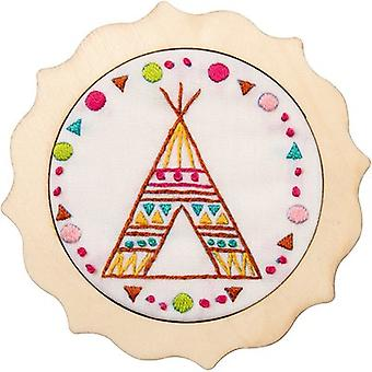 My 1st Stitch Tee Pee Mini Stamped Embroidery Kit-4