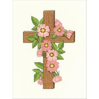 Floral Cross Counted Cross Stitch Kit-5