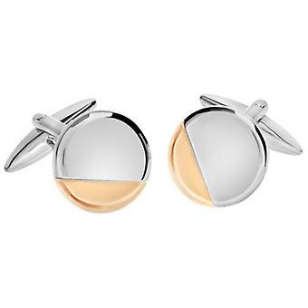 David Van Hagen Shiny Circle Cut Off Corner Design Cufflinks - Rose Gold/Silver