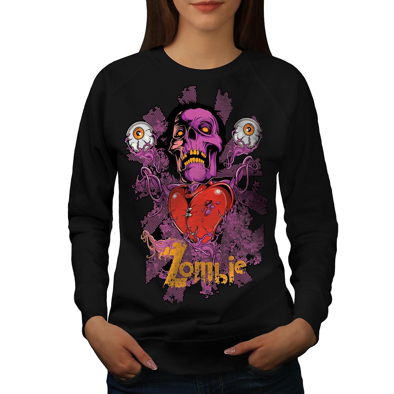 Badass Heart Eye Zombie Women BlackSweatshirt | Wellcoda