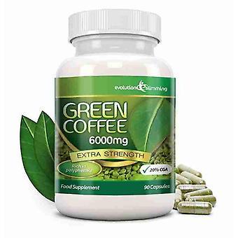 Verde café puro en grano 6000mg con 20% CGA - 90 cápsulas (1 mes) - quemador de grasa y antioxidante - evolución adelgazar