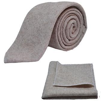 Stonewashed Oatmeal Tie & Pocket Square Set