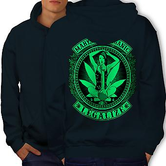 Organic Legalize Men NavyHoodie Back | Wellcoda
