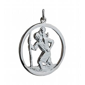 Silver 30mm round cut out St Christopher Pendant