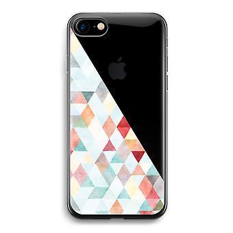 iPhone 7 Transparent fodral (Soft) - färgade trianglar pastell