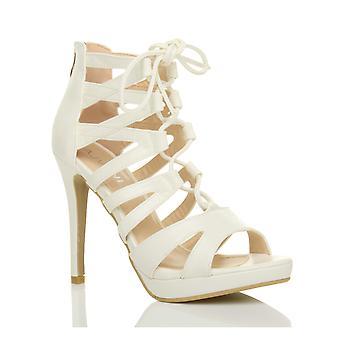 Ajvani womens high heel platform lace up zip caged ghillie sandals shoes