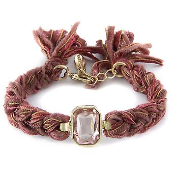 Ettika - Bracelet plated Crystal yellow gold and cotton ribbons braided Brown