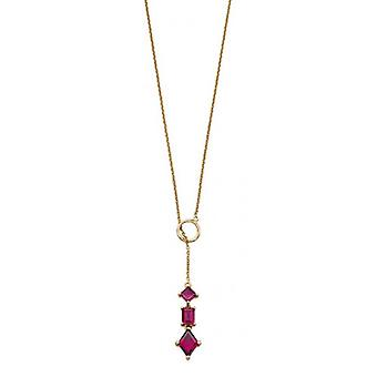 Elements Gold Mixed Shape Brazillian Garnet Necklace - Gold/Red