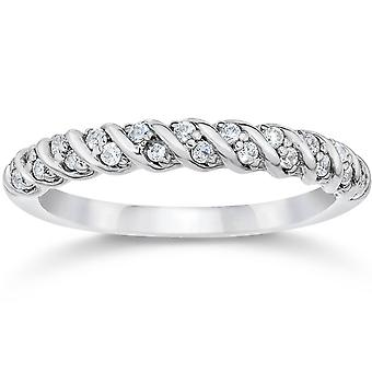 1/3CT Diamond Braided Wedding Ring 10K White Gold