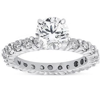 2ct Diamond Eternity Engagement Ring 14K White Gold